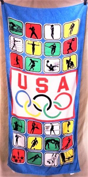 "Vintage 1988 Olympic Games Team USA ""Collage of Events"" Graphic Beach Towel Wall Art"