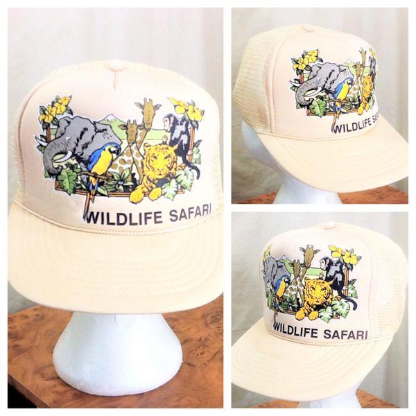 Vintage 80's African Wildlife Safari Retro Tourism Graphic Snap Back Trucker Hat