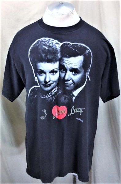 """Vintage 1992 CBS """"I Love Lucy"""" (XL) Retro TV Show Icon Graphic Faded Black T-Shirt"""