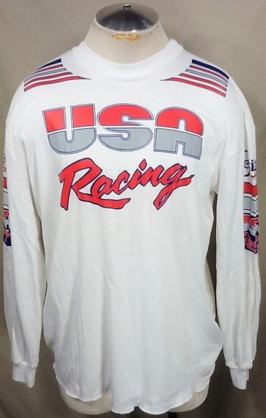 Vintage 90's Team USA Racing (L/XL) Retro Olympics Gear Headz Long Sleeve White T-Shirt