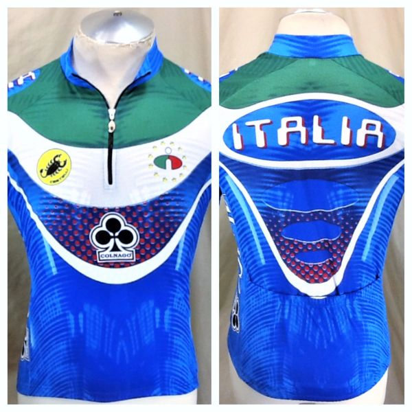 Castelli Cycling Team Colnago Italia (Small) Retro All Over Graphic 1/3 Zip Up Cycling Jersey