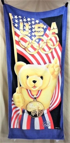 "Vintage 1996 Atlanta Olympics ""Gold Medal Teddy"" Retro Team USA Graphic Beach Towel Wall Art"