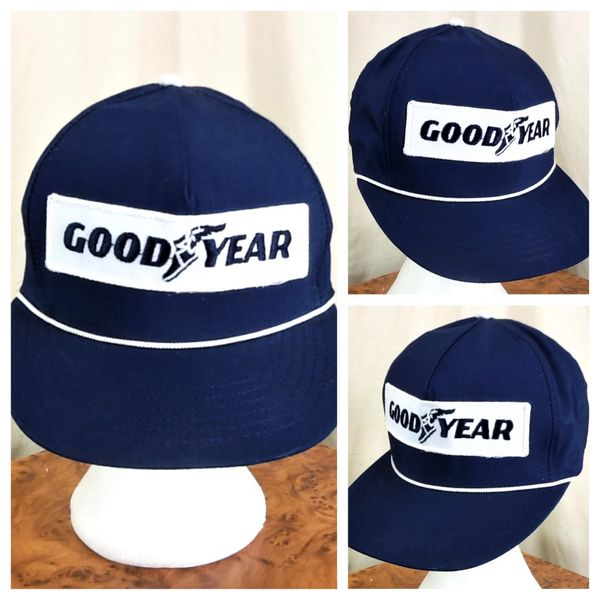 Vintage 90's Goodyear Racing Tires Retro Gear Heads Embroidered Patch Snap Back Hat
