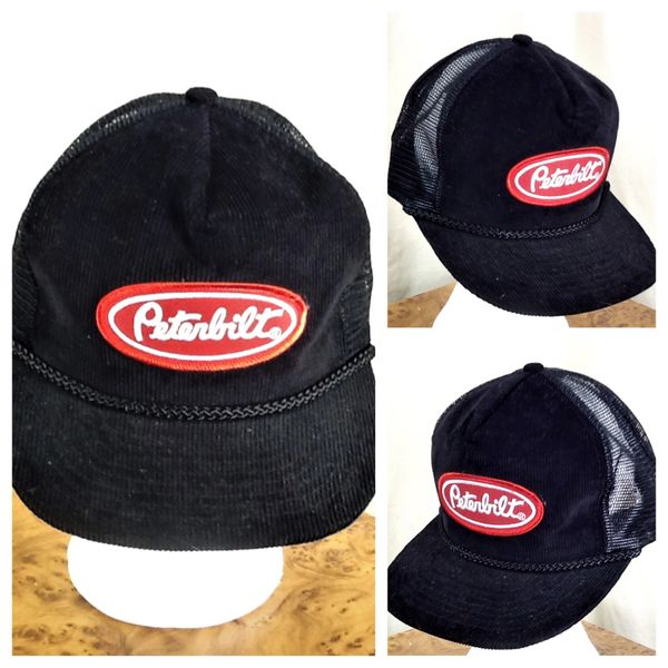Vintage 90's Peterbilt Motors Company Corduroy Snap Back Farming Trucker Cap Black