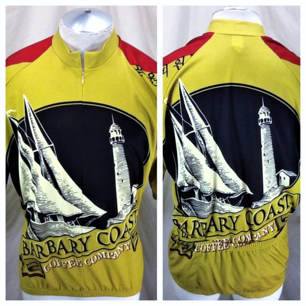 World Jerseys Barabary Coast Coffee Co (XL/2XL) Retro All Over Graphic 3/4 Zip Cycling Jersey