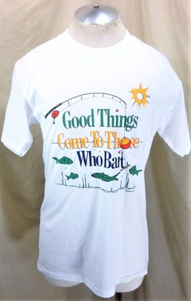 "Vintage 90's Fishing ""Good Things Come To Those Who Bait"" (Large) Graphic Outdoorsman Shirt"