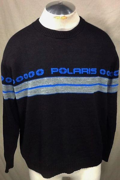 Vintage 90's Polaris Snowmobiles (Large) Retro Graphic Acrylic Pullover Black Sweater