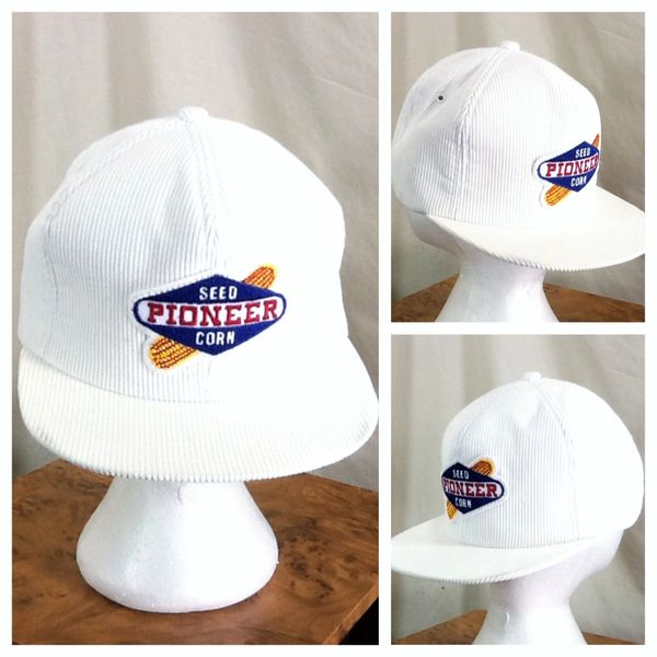 Vintage 80's Pioneer Seed Company Retro Corduroy Snap Back Graphic Farming Hat
