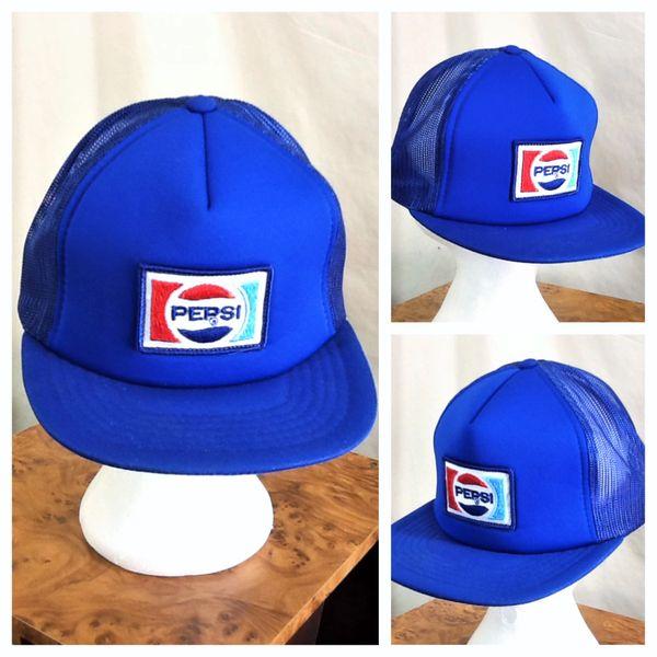 Vintage 1980's Pepsi Cola Retro Americana Classic Patch Snap Back Trucker Hat Blue