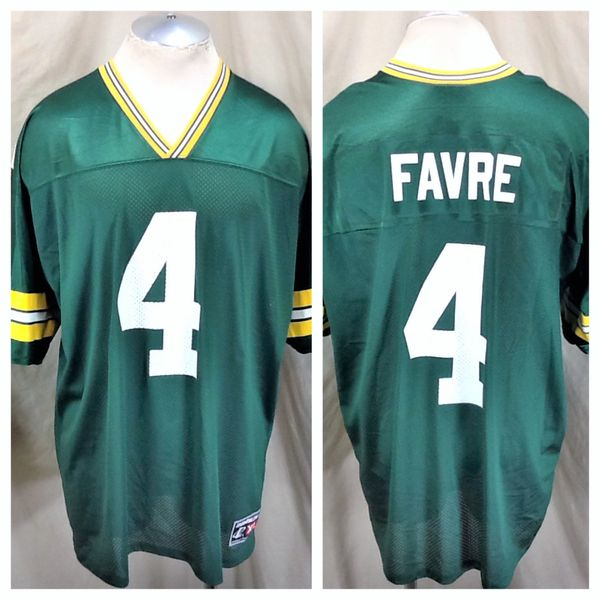 Vintage 90's Green Bay Packers Brett Favre #4 (XL) Retro NFL Football Graphic Green Jersey
