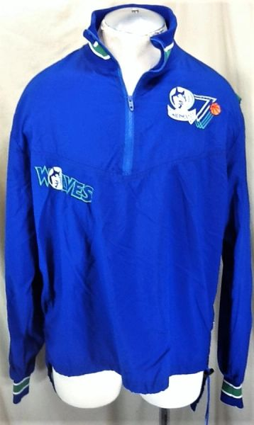 Vintage 90's DeLong Minnesota Timberwolves (Large) Retro Wolves Pullover 1/3 Zip Up NBA Warm Up Jacket