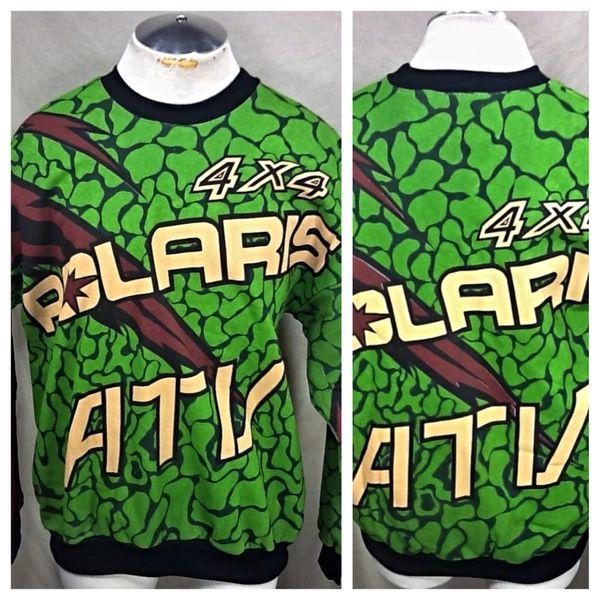 Vintage 90's Polaris ATV Racing 4 x 4 (Large) Retro Graphic Gear Heads Crew Neck Sweatshirt