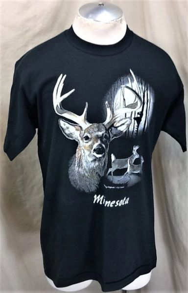 Vintage 90's Minnesota Deer Hunting (Large) Retro Graphic Outdoorsman T-Shirt
