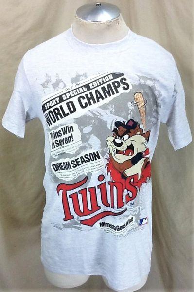 "Vintage 1991 Minnesota Twins ""World Champs"" (Med) Retro MLB Baseball Taz Graphic Gray T-Shirt"