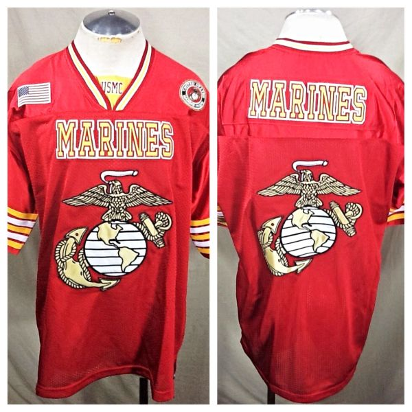 "Vintage United States Marine Corps ""Marines"" (XL) Retro Graphic Football Jersey"