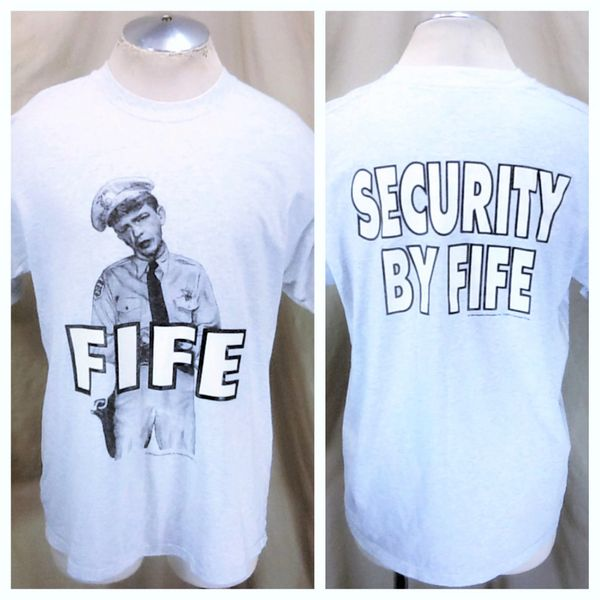 """Vintage 1995 Barney Fife """"Security By Fife"""" (XL) Retro Andy Griffith Tv Show Icon T-Shirt"""