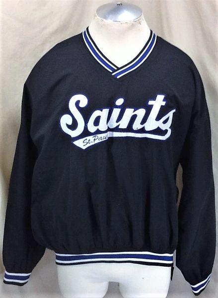 Vintage 90's Starter St. Paul Saints Baseball (XL) Retro Pullover Windbreaker Black Jacket
