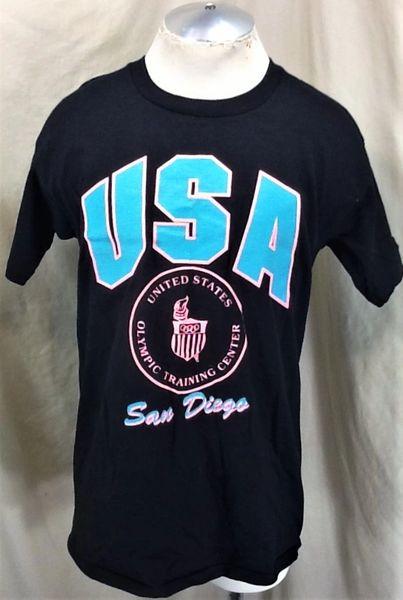 Vintage 80's United States Olympics Center (Large) Retro San Diego Graphic Black Training T-Shirt