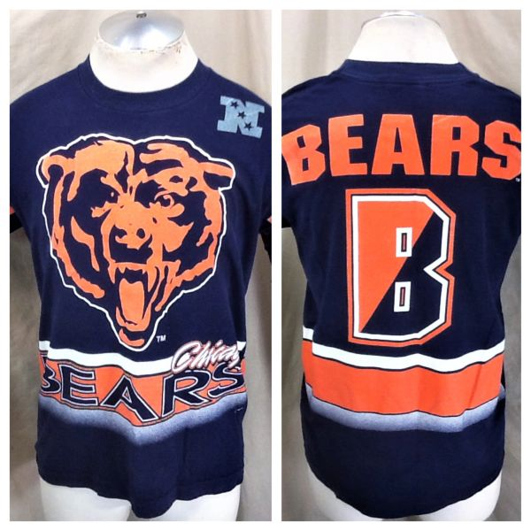 Vintage 1994 Chicago Bears Football (Large) Retro NFL All-Over Graphic Navy Blue T-Shirt