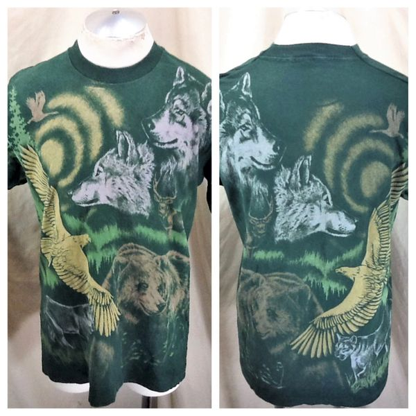 Vintage 90's Nature Wildlife Conservation (Large) Retro Outdoorsman All Over Graphic Print T-Shirt