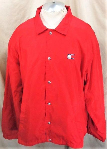 Vintage 90's Tommy Hilfiger Jeans (2XL) Retro Snap Up Street Wear Windbreaker Jacket