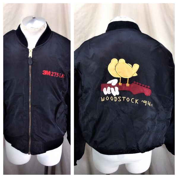 Vintage 1994 Woodstock Music Festival (XL) Retro Zip Up Embroidered Crew Jacket