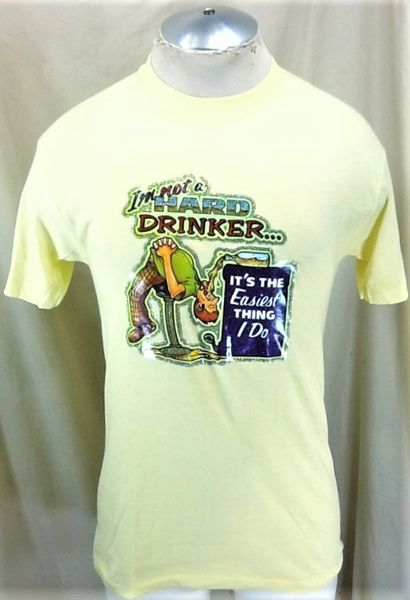 "Vintage 80's Breweriana ""I'm Not A Hard Drinker"" (Large) Retro Funny Single Stitch T-Shirt"