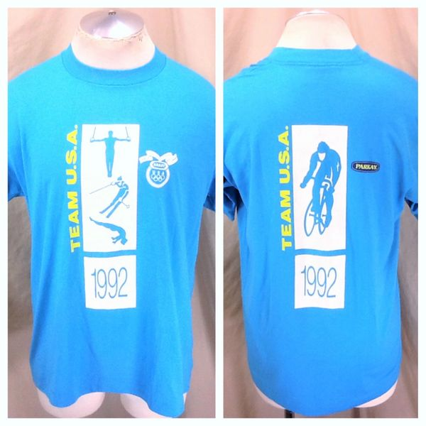 Vintage 1992 Barcelona Team USA Cycling (XL) Retro Olympic Games Graphic Biking T-Shirt
