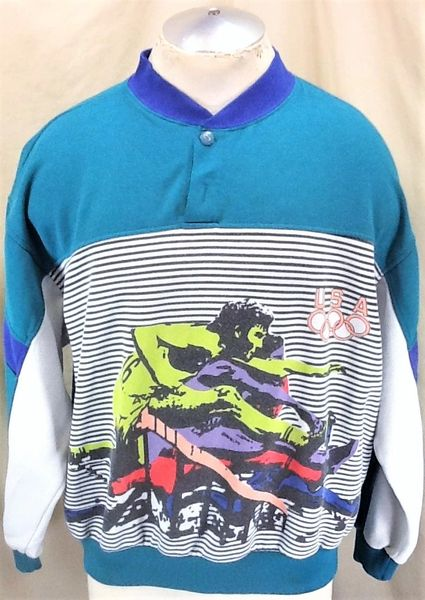"""Vintage 90's USA """"Olympics Special Edition"""" (XL-Wide/Short Length) """"Track & Field"""" Graphic Sweatshirt"""