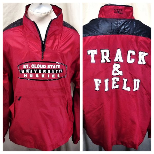 "Vintage 90's St. Cloud State Huskies (L/XL) Retro NCAA ""Track & Field"" Windbreaker Jacket Red"