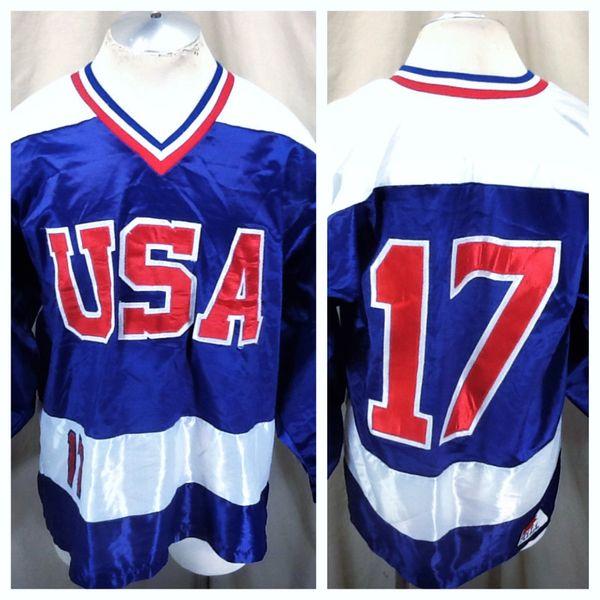 Vintage Team USA Olympic Hockey #17 (Med) Retro Stitched Hockey Pullover Blue Jersey