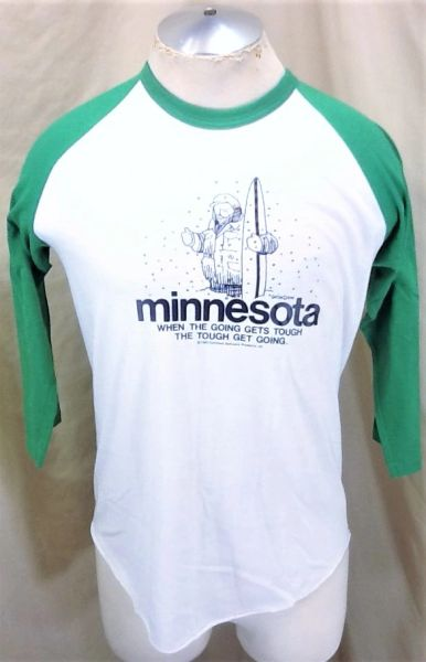 "Vintage 1983 Minnesota 'When The Going Get's Tough"" (Large) Raglan Style Funny Baseball T-Shirt"