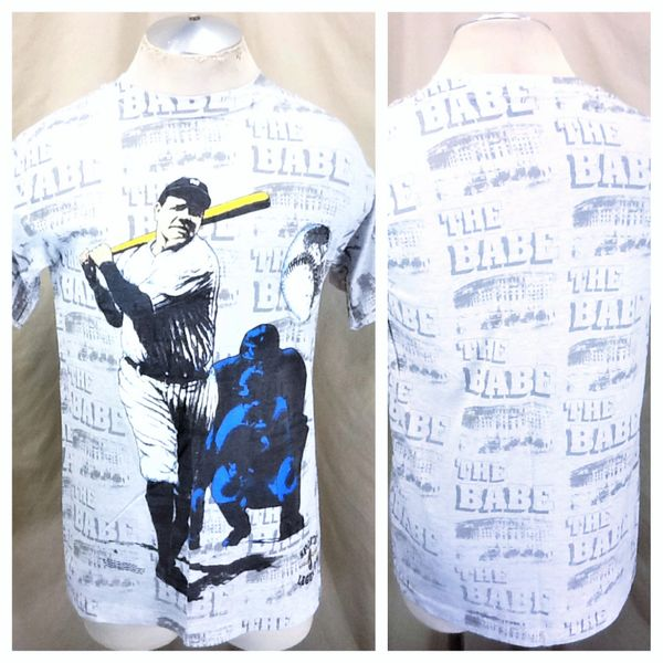 Vintage 1991 New York Yankees Babe Ruth #3 (Large) Retro MLB Baseball All Over Graphic Player T-Shirt