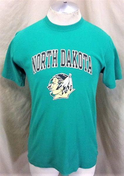 North Dakota Fighting Sioux (Sm/Med) Retro NCAA Old Logo Graphic Green T-Shirt