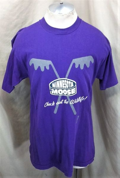 "Vintage 90's Minnesota Moose ""Wildlife"" (Large) Retro IHL Hockey Graphic Shirt Purple"