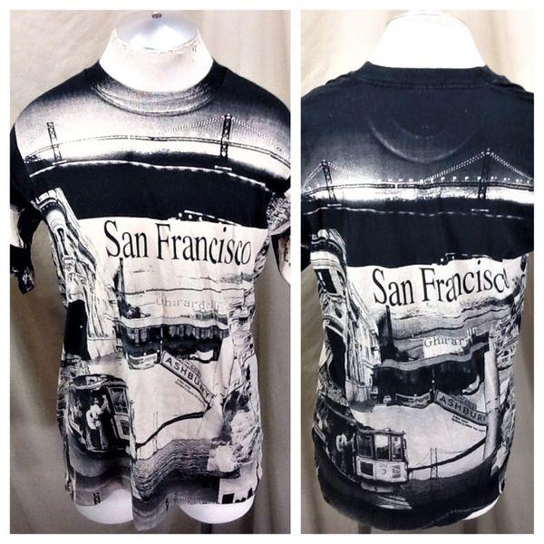 "Vintage 90's San Francisco ""Cable Car"" (L/XL) Retro Tourism All Over Graphic T-Shirt"