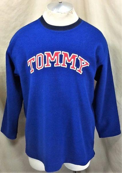 "Vintage 90's Tommy Hilfiger ""Classic Tommy"" (L/XL) Retro Pullover Blue Fleece Sweatshirt"