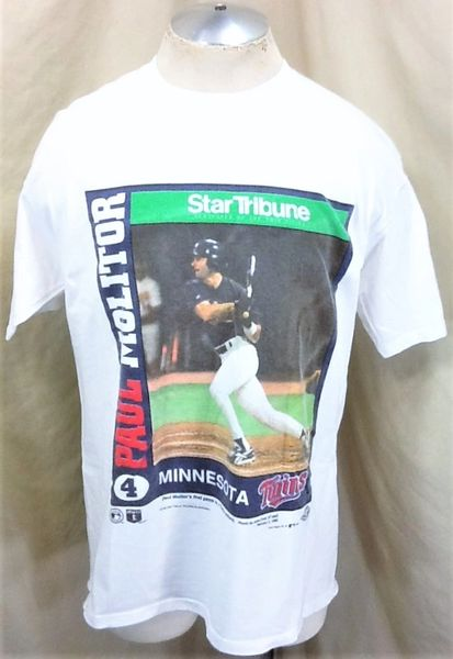 "Vintage 1996 Minnesota Twins Paul Molitor #4 (Large) Retro MLB ""Molitor's First Game"" Graphic T-Shirt"
