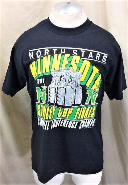 Vintage 1991 Minnesota North Stars (Large) Retro Stanley Cup Playoffs Graphic Black T-Shirt