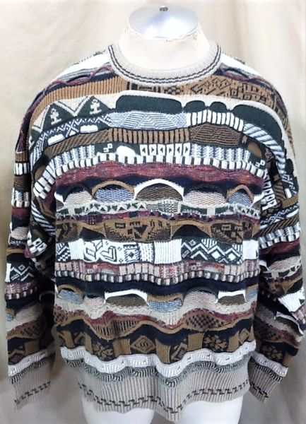 Vintage 90's Florence Tricot (Large) Retro Textured Cosby Style Multi-Color Sweater