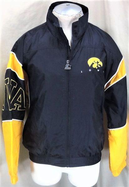 Vintage 90's Starter Iowa Hawkeyes (Med) Retro NCAA Graphic Zip Up Windbreaker Jacket