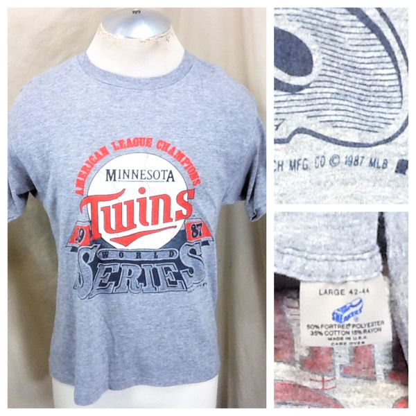 Vintage 1987 Minnesota Twins Baseball (Med/Large) Retro MLB World Series Rayon T-Shirt