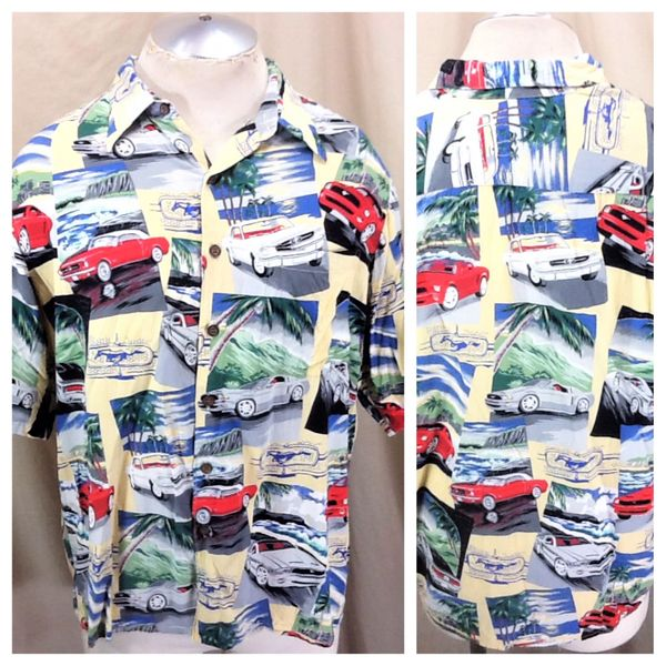 Vintage 90's Reyn Spooner Ford Mustang (Large) Retro Graphic Hawaiian Shirt