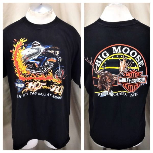 """Vintage 90's Harely Davidson """"Hot On The Road"""" (XL) Retro Motorcycle T-Shirt"""