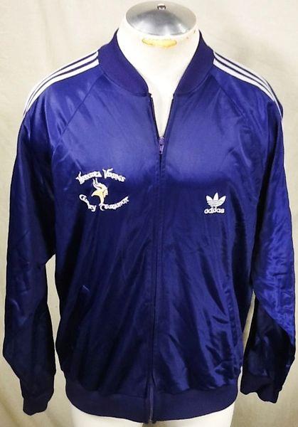 "Vintage 80's Adidas Minnesota Vikings (L/XL) Retro NFL ""Charity Golf Tournament"" Zip Up Track Jacket"