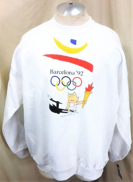 """New! Vintage 1992 Barcelona Olympic Games (2XL) Retro """"Carry The Torch"""" Crew Neck Sweatshirt"""