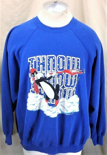 """Vintage 1989 Looney Tunes Sylvester (XL) Warner Bros. """"Throw Snow"""" Retro Sweatshirt"""