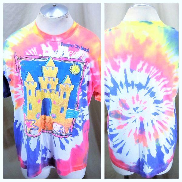 "Vintage 90's Panama City Beach Florida (XL) Retro ""Sand Castle"" Graphic Tie-Die Shirt"