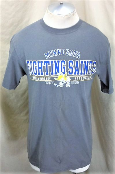 Vintage Minnesota Fighting Saints (Med) Retro WHA Hockey League Graphic T-Shirt