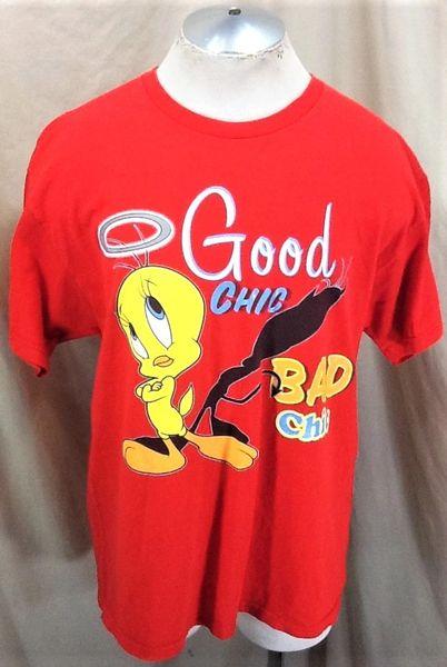 "Vintage 90's Looney Tunes Tweety Bird (XL) Retro ""Good Chic, Bad Chic"" Cartoon T-Shirt"